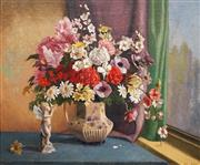 Sale 8606 - Lot 567 - Albert Sherman (1882 - 1971) - Still Life With Cherub 61.5 x 75cm