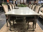 Sale 8787 - Lot 1021 - French Style 11 Piece Dining Suite inc 10 Upholstered Chairs and Extension Table