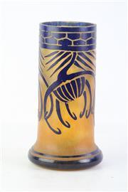 Sale 8810 - Lot 14 - Charles Schneider Art Deco Blue Overlay Glass Vase