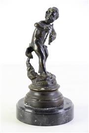 Sale 8989 - Lot 80 - Bronze on marble figure of a cherub (H25cm)