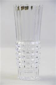 Sale 9003G - Lot 640 - Unusual Vintage Czechoslovakian Crystal Optic Vase, with original paper label H: 20cm