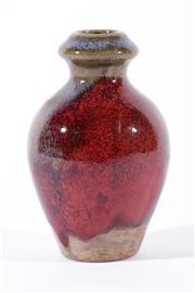 Sale 9015 - Lot 12 - Junyao Vase, baluster shaped with large purple splash to side, H:10.5 cm