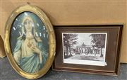 Sale 9011 - Lot 2064 - Group of Assorted Artworks incl. Retro Print of Virgin Mary, Abstract Watercolour, European Engraving & Print of Berlin c1928 -