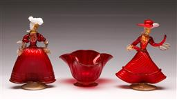 Sale 9114 - Lot 2 - A pair of Murano glass ladies (H:18cm) together with a footed tissue bowl (W:15cm)