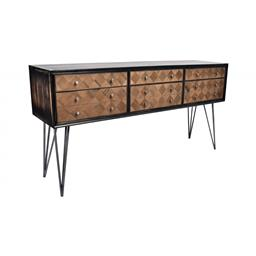 Sale 9140F - Lot 20 - A distressed black wash console constructed with old oak featuring a veneer top & forged iron double bar legs. Dimensions: W175 x D4...