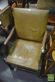Sale 8383 - Lot 1469 - Pair of Leather High Back Carver Chairs with Studded Trim ( damage to upholstery)