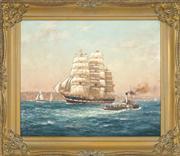 Sale 8449A - Lot 551 - John Allcot (1888 - 1973) - Ship Macquarie Leaving Sydney 49 x 59cm