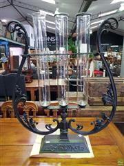 Sale 8601 - Lot 1170 - Pair of Large Metal Candelabras with Glass Flutes