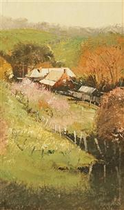 Sale 8624 - Lot 501 - Colin Parker (1941 - ) - Farmlet in the Barossa Valley 34 x 20cm