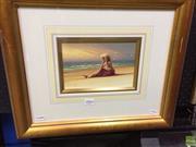 Sale 8648B - Lot 2004 - Julian Morgan - Beach Scene, oil on board, frame: 41 x 38.5cm, signed lower left