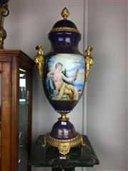 Sale 8730B - Lot 17 - Pair of Sevres Style Urns with Gilt Handles and Base Depicting Portraits H: 72cm