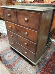 Sale 8774 - Lot 1060 - 19th Century Cedar Chest of Five Drawers, of heavy construction, faux rosewood handles & turned feet