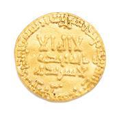 Sale 8899 - Lot 390 - AN EARLY ISLAMIC GOLD COIN; Abbasid Caliphate, dinar,  fine gold, diam. 18mm, wt. 4.02g.