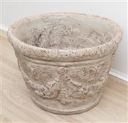 Sale 8902H - Lot 94 - A terracotta grey painted jardinière with swag design, Height 32cm, diameter 48cm