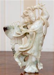 Sale 9058H - Lot 94 - A Green stone figure of Guanyin. H-15cm