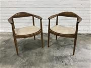 Sale 9056 - Lot 1088 - Pair of Danish Wish Bone Dining Chairs (h:77 x w:62 x d:46cm)
