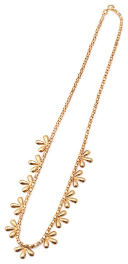 Sale 9115 - Lot 310 - AN 18CT GOLD NECKLACE; featuring a fringe of 11 floral motifs on a fancy link chain with bolt ring clasp, length 46cm, wt. 15.15g.