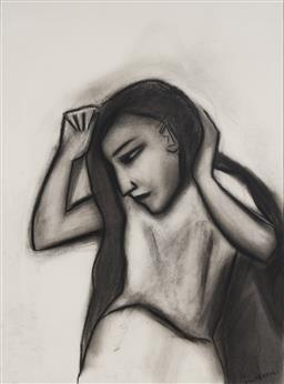 Sale 9141 - Lot 553 - Robert Dickerson (1924 - 2015) Girl Doing Her Hair charcoal on paper 75 x 55 cm (frame: 105 x 83 x 3 cm) signed lower right, titled ...