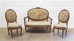 Sale 9142 - Lot 1087 - ERRATUM - Louis XVI Gilt Salon Suite, comprising a two-seater settee & two SIDE CHAIRS, with gilt carved frames & purpose floral fab...