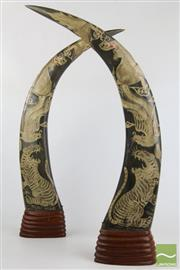 Sale 8490 - Lot 44 - Carved Bull Horns Decorated with Chinese Dragons and Tigers