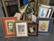 Sale 8776 - Lot 2088 - Box of Artworks including framed decorative lithographs, prints, carvings and an oil painting, various sizes