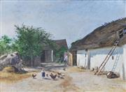 Sale 8781A - Lot 5061 - Viktor Mytteis (1874 - 1936) - Feeding The Chickens, Villach, Austria, 1902 35 x 49cm