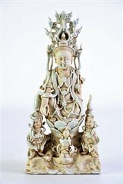 Sale 8869C - Lot 690 - Porcelain and Clay Guanyin Figure, (Small Loss To Headpiece) H23cm