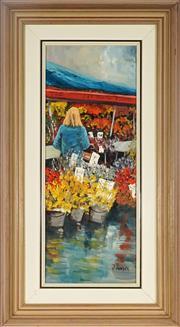 Sale 9028 - Lot 2017 - John Vander (1945 - ) - Market Flower Stalls 49 x 18.5 cm (frame: 67 x 37 x 4 cm)