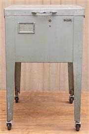 Sale 8984H - Lot 73 - A metal filing unit with removable lid raised over original castors. H 71 w 42 x d 49cm