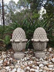 Sale 9015G - Lot 8 - Pair of Carved Granite Artichoke/Acorn Finials Size: 50cm H.