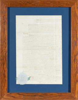 Sale 9130E - Lot 45 - A framed court letter with the seal of the supreme court to lower left, frame size 51cm x 40cm