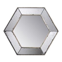 Sale 9140F - Lot 22 - A Hexagonal Mirror finished with an antique-glass style on its frame. Dimensions: W52 x D3.5 x H45 cm