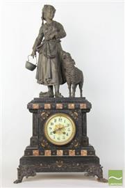 Sale 8490 - Lot 333 - Spelter Figural And Black Slate Mantle Clock