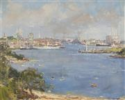 Sale 8713 - Lot 505 - Allan Hansen (1911 - 2000) - Old Pyrmont, Sydney Harbour 59 x 75cm