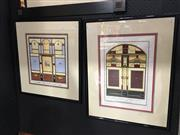Sale 8726 - Lot 2007 - Pair of Italian Architectural Hand-Coloured Engravings (each framed/various sizes) -