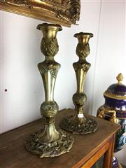 Sale 8730B - Lot 19 - Pair of Ornate Brass Candlesticks H: 43cm