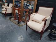 Sale 8863 - Lot 1002 - Pair of Mahogany Framed Armchairs with Upholstered Back and Seats