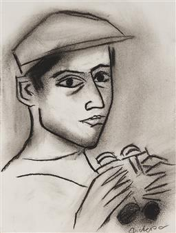 Sale 9133 - Lot 530 - Robert Dickerson (1924 - 2015) Man with Binoculars charcoal 22.5 x 17 cm (frame: 42 x 37 x 5 cm) signed lower right