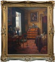 Sale 8415 - Lot 573 - Karl Maria Schuster (1871 - 1953) - Interior Scene, 1930 92.5 x 77.5cm