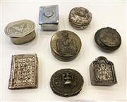 Sale 8436A - Lot 45 - A group of metal ware pill boxes including a silver example bearing picture of Jesus. (8)