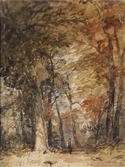 Sale 8938 - Lot 576 - Attributed John Skinner Prout (1805 - 1879) - Old Park Trail 28 x 21 cm