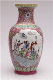 Sale 9052 - Lot 380 - Famille Rose Chinese pink ground vase (H31cm)