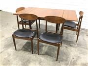 Sale 9056 - Lot 1095 - Vintage Parker 5 Piece Dining Suite inc Extension Table and 4 4 Match Stick Chairs (h:73 x wL158 x d:91cm)