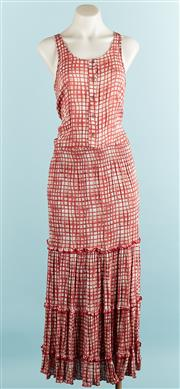 Sale 9071F - Lot 10 - AN ASAP MAXI DRESS; in a red red check geometric pattern, with shirred waist, size S