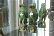 Sale 8339 - Lot 21 - Chinese Lead Glaze Pair of Parrot Figures