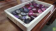 Sale 8390 - Lot 1502 - Box Pink & Purple Polished Agate End Pieces