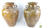 Sale 8490 - Lot 235 - Mataban Possibly 15th Century Pair Of Brown Glazed Pots Decorated With Dragons
