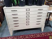 Sale 8601 - Lot 1075 - Metal Chest of Six Plan Drawers (H:92 W:116 D:83cm)