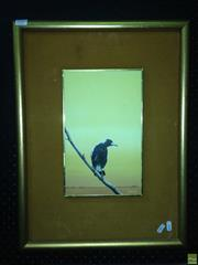 Sale 8622 - Lot 2049 - Artist Unknown - Magpie, Oil on Board, Signed Barnes Lower Right with a Decorative Print