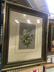 Sale 8726 - Lot 2013 - Jean Benner - Floral Arrangement Hand-Coloured Lithograph, frame: 64.5 x 55cm -